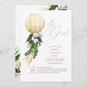 Pink Floral Gold Balloon Cute Tropical Baby Shower