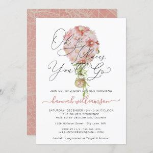 Pink Floral Hot Air Balloon Baby Shower Invitation