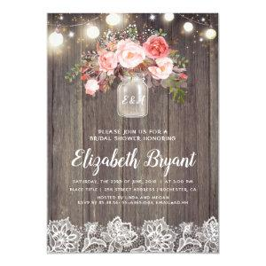 Pink Floral Mason Jar Rustic Lace Bridal Shower Invitation