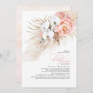 Pink Floral Pampas Grass Baby Shower