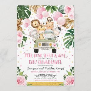 Pink Floral Safari Drive By Baby Shower Parade Invitation
