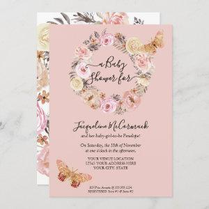 Pink Floral Watercolor Wreath  Butterfly Baby Girl Invitation