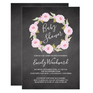 Pink Floral Wreath Chalkboard Girl Baby Shower Invitation