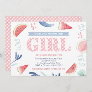 Pink Gingham Baby-q Couples Baby Shower for Girl Invitation
