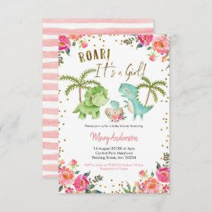 Pink Girl Tropical Dinosaur Baby Shower Floral