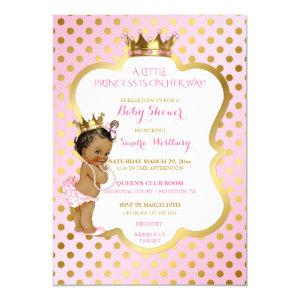 Pink & Gold African American Princess Baby Girl Invitation