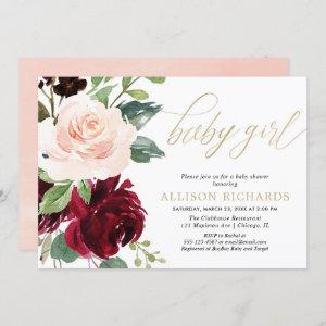 Pink gold and burgundy floral girl baby shower invitation