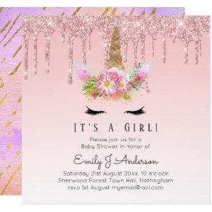 Pink Gold Drip Glitter Unicorn Baby Girl Shower Invitation