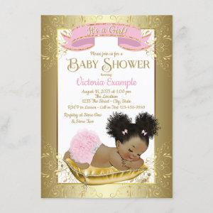 Pink Gold Ethnic Girl Baby Shower Invitations