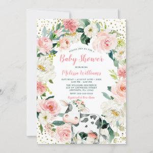 Pink Gold Floral Cow Girl Baby Shower Invitation