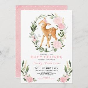 Pink Gold Floral Deer Forest Greenery Baby Shower Invitation
