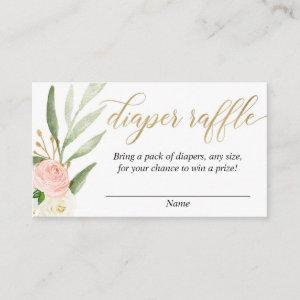 Pink gold greenery baby shower diaper raffle cards