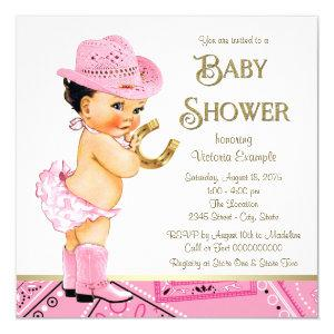 Pink Gold Horseshoe Cowgirl Baby Shower Invitation