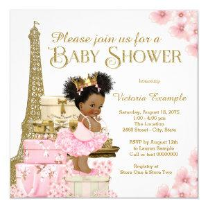 Pink Gold Paris Afro Princess Baby Shower Invitation