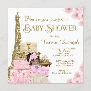 Pink Gold Paris Ethnic Girl Baby Shower Invitation