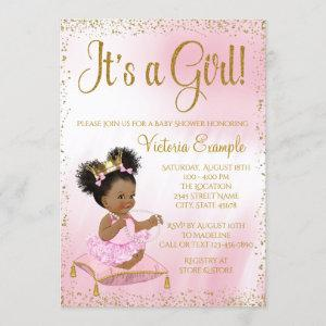 Pink Gold Princess Baby Shower Its a Girl Invitation