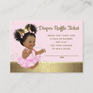 Pink Gold Princess Diaper Raffle Tickets Enclosure Card