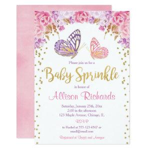 Pink gold purple butterfly girl baby sprinkle invitation