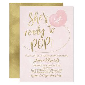 Pink Gold Ready To Pop Baby Shower Invitation