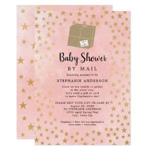 Pink Gold Star Girl Virtual Baby Shower Invitation