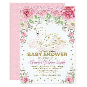 Pink Gold Swan Princess Girl Baby Shower Invitation