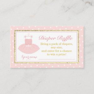 Pink & Gold Tutu Baby Shower Diaper Raffle Ticket Enclosure Card