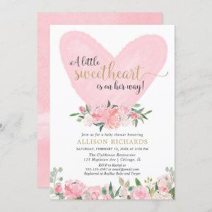 Pink gold Valentines sweetheart girl baby shower Invitation