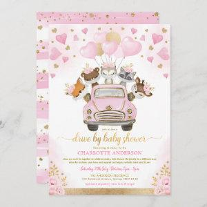 Pink Gold Valentines Woodland Drive By Baby Shower Invitation