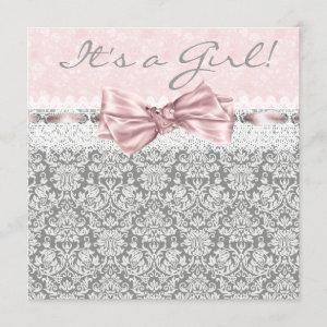 Pink Gray Damask Pink and Gray Baby Girl Shower Invitation