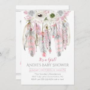 Pink Gray Dream Catcher Floral Feathers Arrows Invitation