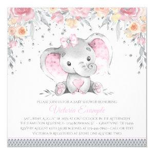 Pink Gray Elephant Diamond Floral Baby Shower Invitation