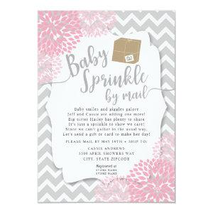Pink Gray Floral Baby Sprinkle by mail Invitation