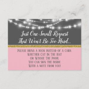 Pink Gray Lights Baby Shower Bring A Book Card