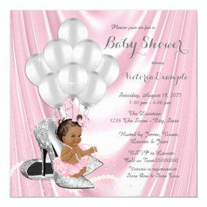 Pink Gray Pearl High Heel Ethnic Baby Shower Invitation