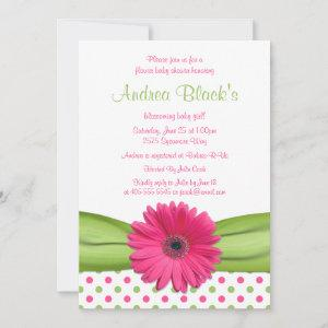 Pink Green Polka Dot Daisy Baby Shower Invitation