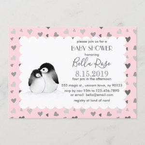 Pink Grey Hearts Penguins Baby Shower Invitations