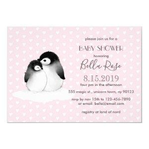 Pink Grey Penguins Hearts Baby Shower Invitation
