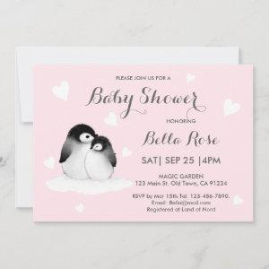 Pink Heart Penguin Baby Shower Invitations