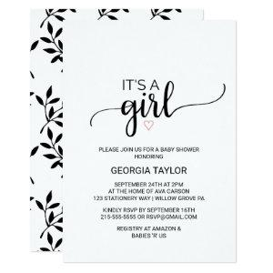 Pink Heart | Simple Black Calligraphy It's A Girl Invitation