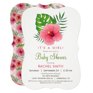 Pink Hibiscus Flower Girl Baby Shower Invitation