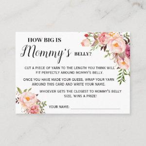Pink How big is mom belly game bilingual card