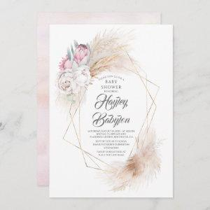 Pink King Protea Pampas Grass Floral Baby Shower