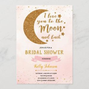 Pink love you to the moon theme invitation