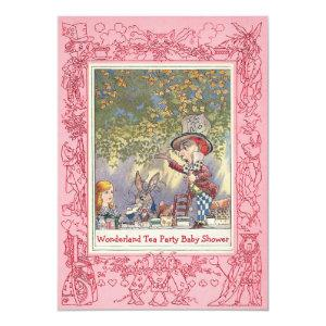Pink Mad Hatter's Wonderland Tea Party Baby Shower Invitation