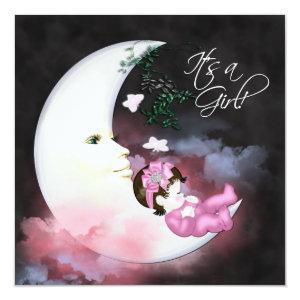 Pink Moon Baby Girl Shower Invitaions Invitation