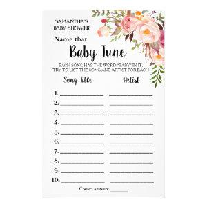 Pink Name Baby tune bilingual shower game card