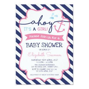 Pink Nautical Girl Baby Shower Invitation Ahoy