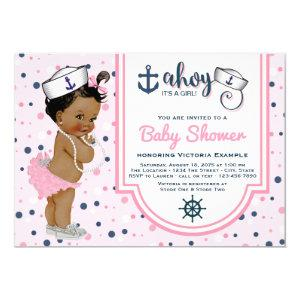 Pink Navy Blue Ethnic Girl Nautical Baby Shower Invitation