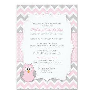 Pink Owl Baby Shower with book request Invitation