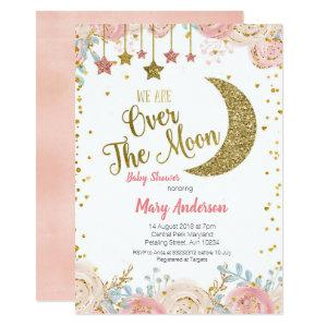 Pink Peach Gold Moon Baby Shower for girl Invitation